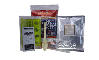 Hot Meal Kit 400g | genuine military style MRE meal-ready-to-eat | MRE food from EVAQ8 the UK's Emergency Preparedness specialist